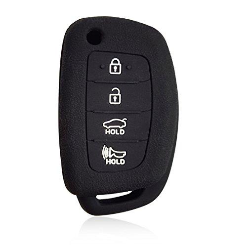 Massimiliano Incas Dobrev 4 Buttons Silicone Case Protector Key Fob Cover Smart Car Remote Holder for Hyundai Santa Fe XL IX35 XL IX45 Remote Flip Key (Black)