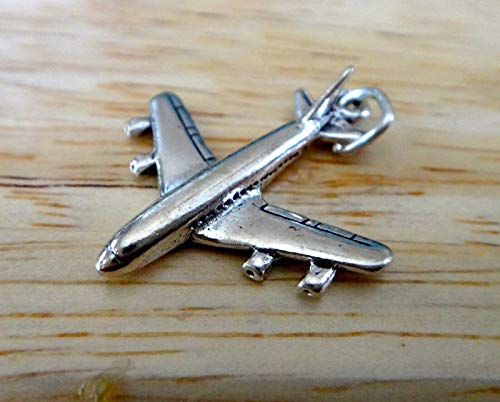 Wholesale Airline - Sterling Silver 3D 24x21mm Airplane 4 Engine Jet Airline Travel Charm Jewelry Making Supply, Pendant, Sterling Charm, Bracelet, Beads, DIY Crafting and Other by Wholesale Charms