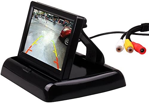 Car Vehicle Small Mini Color Digital Flip Down Folding Foldable Rear View Reverse Easy Install Parking Kits Combo Set HD TFT-LCD LED 4.3 Inch Small Mini Monitor Backup Camera by HitCar AC-430ZD+LED662