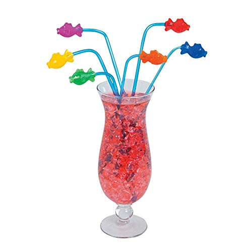 Fun Express Plastic Tropical Fish Straws  - Pack of 12 (Fish Party Supplies)