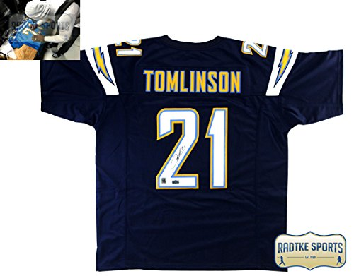 LaDainian Tomlinson Autographed/Signed San Diego Chargers Navy Blue Custom Jersey ()