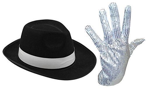 MENS LADIES MICHAEL JACKSON SILVER SEQUIN GLOVE AL CAPONE HAT 70 80S FANCY  DRESS (SILVER af312f14d453