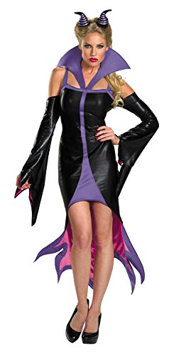 Maleficent Plus Size Costumes (UHC Women's Sexy Purple And Black Maleficent Sassy Disney Halloween Costume, L (12-14))