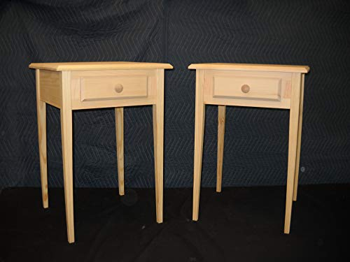 - Set of 2 unfinished Beveled edge Pine End Table, Night Stand w/tapered or Block Legs