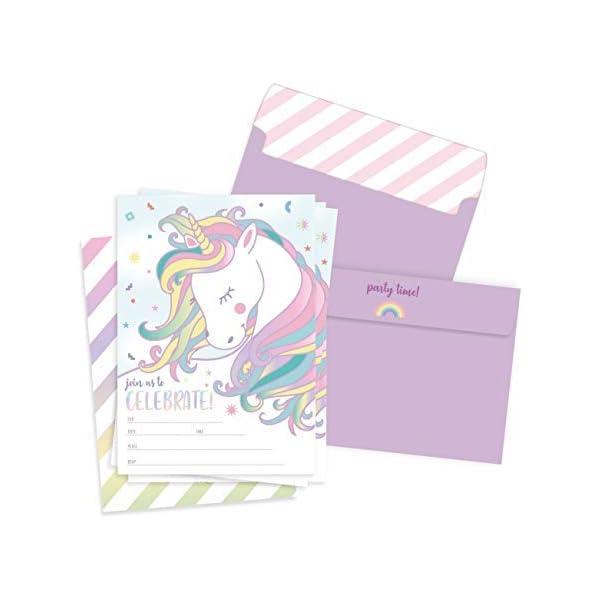 Well Krafty - 25 invitaciones de cumpleaños con sobres, diseño de unicornio mágico