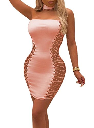 Halter Nightclub Women Dress Colored Pink Neck Tube Top Straps Coolred Solid TYq4Yp
