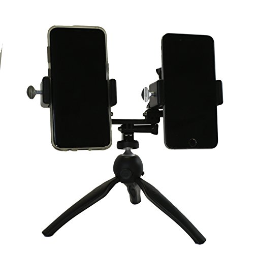 Livestream Gear - Dual Phablet Tripod Setup for Live Stream or YouTube, to Fit Large Sized Devices like iPhone 6 Plus, or Galaxy Note. Also Works with Sport Cameras-GoPro. (Black Dual Tripod) by Livestream