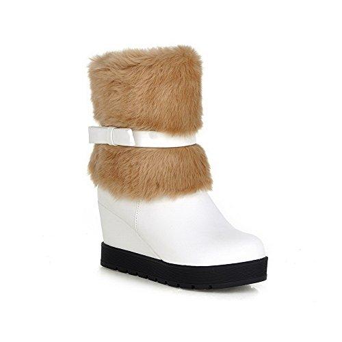 BalaMasa de botas grueso a juego cuello tacón Bowknot blanco Spun de imitado de piel color inferior Girls Gold cuero f4Xrfw
