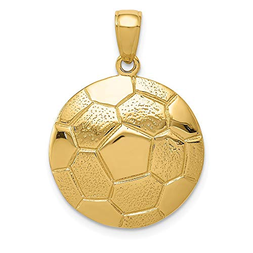 14k Yellow Gold Soccer Ball Pendant Charm Necklace Sport Man Fine Jewelry Gift For Dad Mens For Him