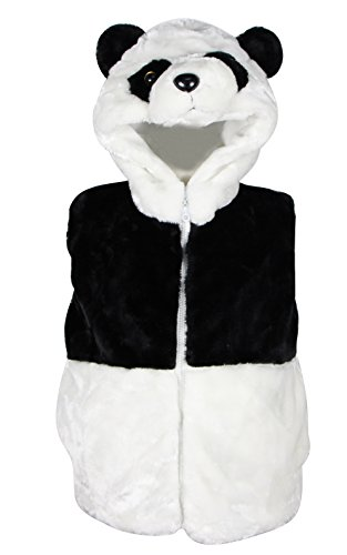 Bioterti Kids' Animal Hooded Vest for Dress Up/With Pockets/ Manufacture/ 16 Amazing Styles (Large, Panda) - Panda Kids Costume