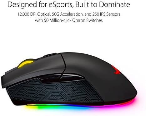 ASUS ROG Gladius II Origin Wired USB Optical Ergonomic FPS Gaming Mouse featuring Aura Sync RGB, 12000 DPI Optical, 50G Acceleration, 250 IPS sensors and swappable Omron switches,Black 41Bo26HJkSL