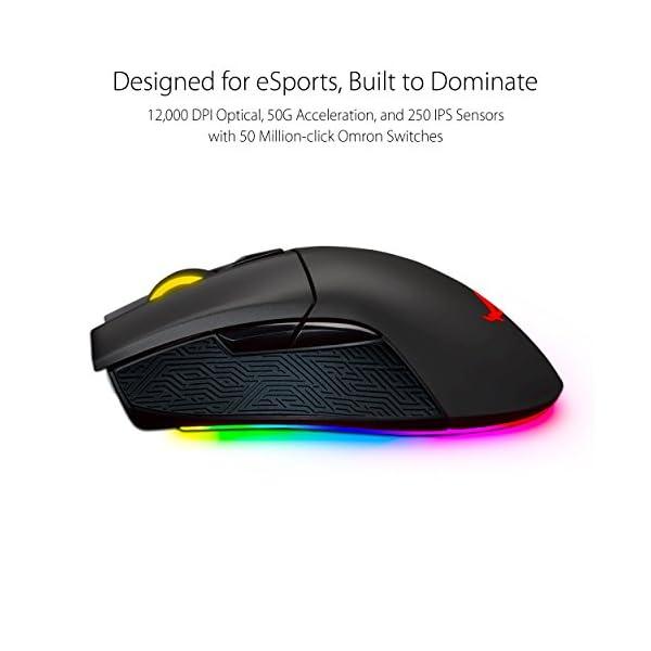 ASUS ROG Gladius II Origin Wired USB Optical Ergonomic FPS Gaming Mouse featuring Aura Sync RGB, 12000 DPI Optical, 50G…