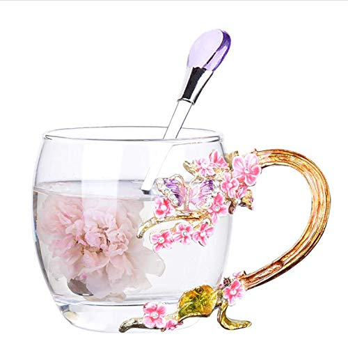 QIQIHOME Women's Unique Novelty 3d Flower Glass Coffee Mugs Cups With Spoon Perfect Gift for Women, Anniversary, Wedding, Birthday, WITH Luxury Gift Box,(Plum blossom red, 9cm -