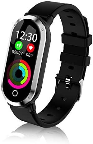 TOP-MAX Fitness Tracker Heart Rate Monitor, Women Swimming Waterproof Activity Tracker Smartwatch Sleep Monitor Pedometer Smart Bracelet Wristband Caloric Counter for Women Kids iOS Android