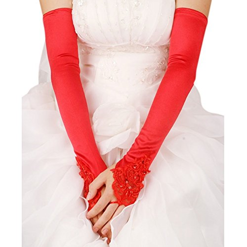 [APAS Fingerless Lace Gloves For Wedding Evening Party Satin Bridal Gloves Wedding Accessories Red] (Elegant Bride Costumes)