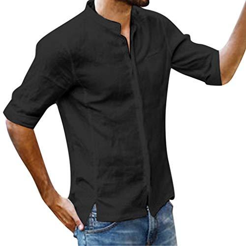Stoota Fashion Men's Retro T-Shirts Linen,V-Neck Solid Tops,Short Sleeve Blouse Black -