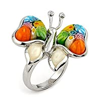 Multi Color Butterfly Millefiori Animal Sterling Silver 925 Ring