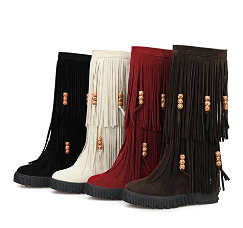 calf Fringed Beaded Women's Oversized Beige Boots Mid Chic Aisun fqY4xEw