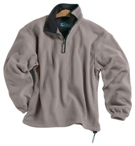 Tri-mountain Micro fleece 1/4 zip pullover. 7100TM - HEATHER GRAY / BLACK_L