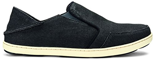 OLUKAI Mens Nohea Lole Slip-On Loafer, Black/Dark Shadow, 12