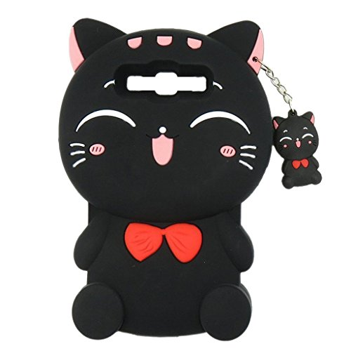 LG Stylus 2 Plus LS775 Case, Maoerdo Cute 3D Cartoon Black Plutus Cat Lucky Fortune Cat Kitty with Bow Tie Silicone Rubber Phone Case Cover for LG Stylus 2 Plus (Cartoons Characters)