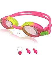 Zwembril voor kinderen, anti-condens, lekvrij, waterdicht, zachte siliconen kinderzwembril, in grootte verstelbaar, premium zwembril met draagtas