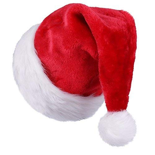 Santa Hat For Adults, HOMEASY Unisex Christmas Hats Xmas Holiday Hat Extra Thicken Classic Fur Santa Hats For Adults Party New Year Christmas Day (Red & White)]()