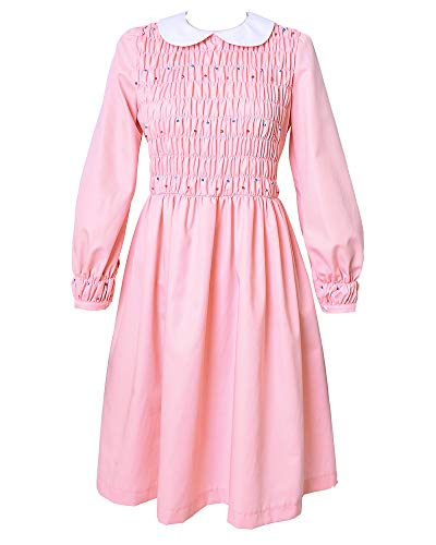 Miccostumes Girl's Pink Eleven Cosplay Beading Dress Costume Including Socks (Women XL)