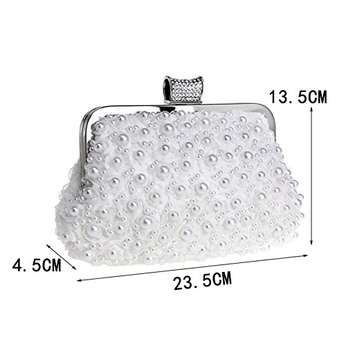Purse Dress Bag Evening Bag JESSIEKERVIN White Beaded Clutch Handbag Banquet Ladies qSY8gUgn