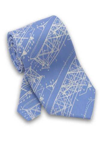 Josh Bach Mens Wright Brothers Blueprint Silk Necktie, Made in USA