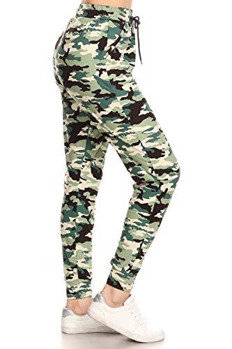 Leggings Depot JGA-S721-M Sage Camouflage Jogger Pants w/Pockets, Medium