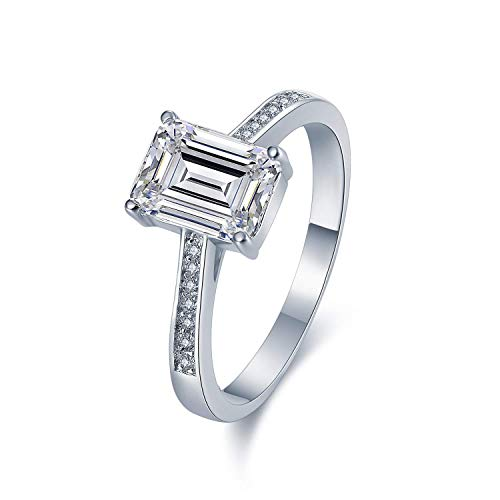 Sreema London Celeb Style Micro-Pave Set 925 Sterling Silver Ring. Vintage Look Emerald Cut Wedding Engagement Anniversary Band Ring with AAAAA Cubic Zirconia (8)