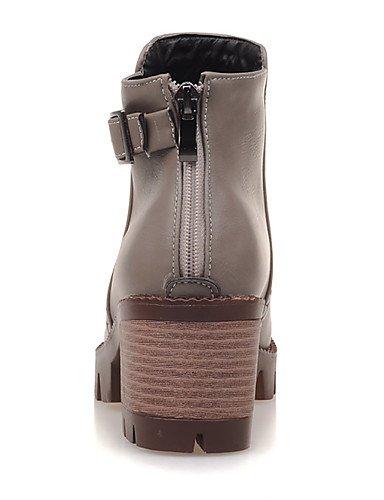 XZZ/ Damenschuhe-Stiefel-Büro / Kleid / Lässig-Kunstleder-Blockabsatz-Armeestiefel / Rundeschuh / Modische Stiefel-Schwarz / Grau / Beige gray-us5 / eu35 / uk3 / cn34