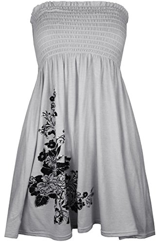 Mode Cima Les Femmes, Plus Floral Swing Paillettes Sheering Mini Robe Bandeau Top 8-18 Gris