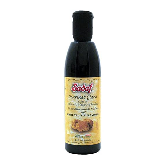 Sadaf Gourmet Glaze Balsamic Vinegar Truffle Flavored 8.4 fl. oz., White 1 Gourmet glaze balsamic vinegar with white truffle Ideal for dressings, salads, other recipes Premium quality