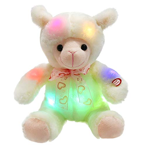 WEWILL LED Lamb Stuffed Animal Sheep Soft Plush Toy Nightlight Companion Gift for Babies on Birthday Christmas, White, 9 Inch