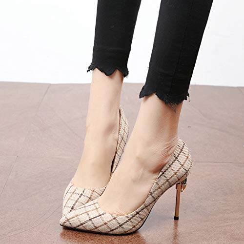 Touch Color Five Grid And Camel 10Cm Shoe Shallow Drill Single Multi Thirty KPHY High Thin Heel Sharp Mouth Pointed wqzHaHU