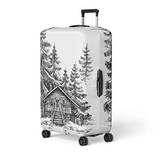 Pinbeam Luggage Cover Wooden Cabin in the Pine Forest Idyllic Winter Travel Suitcase Cover Protector Baggage Case Fits 22-24 inches
