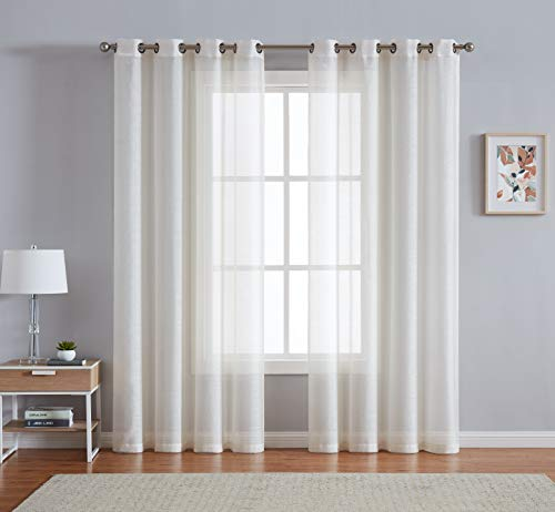 LinenZone - Grommet Semi-Sheer Curtains - 2 Pieces - Total Size 108 Inch Wide (54 Inch Each Panel) - 95 Inch Long Panels - Beautiful, Elegant, Natural Light Flow Material (54