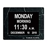 Clear Clock [Newest Version Extra Large Digital Memory Loss Calendar Day Clock with Optional Day Cycle + Alarm Perfect for Seniors + Impaired Vision Dementia Clock (Black Marble)