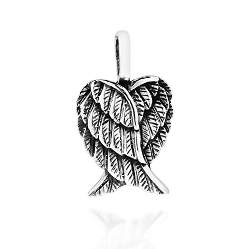 AeraVida Delightful Petite Heart-Shaped Angel Wings .925 Sterling Silver Pendant (Angel Heart Pendant)