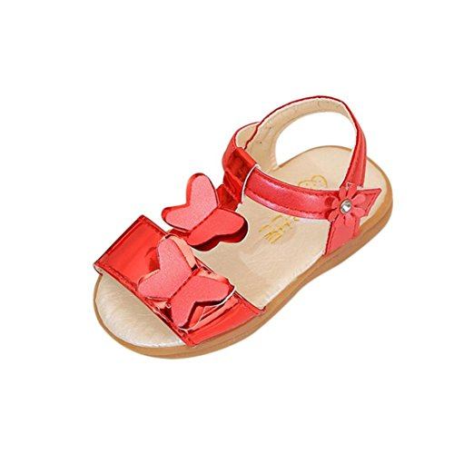 KONFA Toddler Newborn Baby Girls Butterfly Floral Sandals,for 0.5-3.5 Years old,Summer Little Princess Casual Shoes (Red, 1.5-2 Years old)