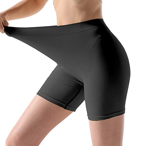 MELERIO Ladies&Women Boyshort Panties Seamless Long Underwear Plus Size Yoga Large Black (Best Underwear For Yoga)