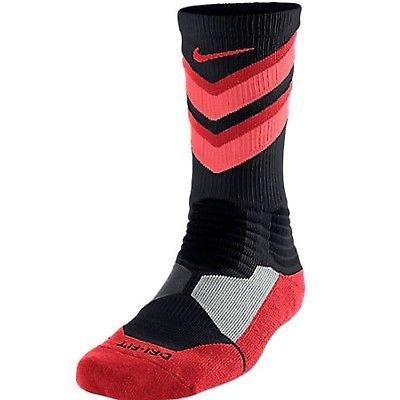 Nike Hyper Elite Chase Basketball Crew Socks Black/Lava SX4923-068 (S 3-5Y) (Nike Hyper Chase)