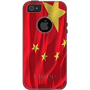 CUSTOM Black OtterBox Commuter Series Case for Apple iPhone 5 / 5S - China Waving Flag Chinese