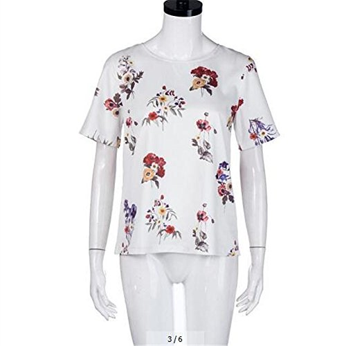 XMY Kurzarm Shirt Druck Lose Kurzarm T-Shirt T-Shirt Weiß
