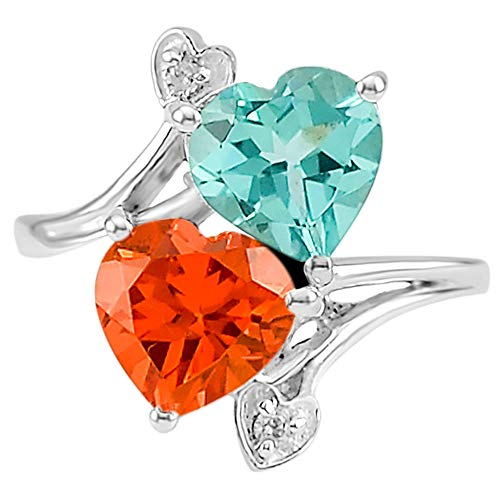 Desiregem Paraiba Tourmaline Lab Created 8x8 MM Heart Shape, Padparadscha Sapphire and Cz 925 Sterling Silver Ring Size 6-10 DGR1071_M ()