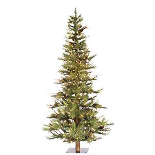 Vickerman Artificial Christmas Tree Classic PVC Needles Ashland Fir Prelit with Clear Mini Christmas Lights, 6', - Christmas Warehouse Trees The