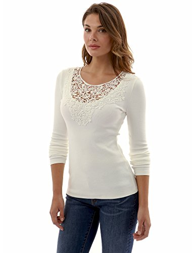 PattyBoutik Women's Scoop Neck Crochet Lace Inset Ribbed Blouse (Off-White XL)