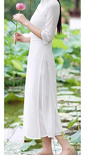 White Coolred Cut Stand Cheongsam Out Women Sexy Collar Splicing Chinese Style PRUqvHwPB